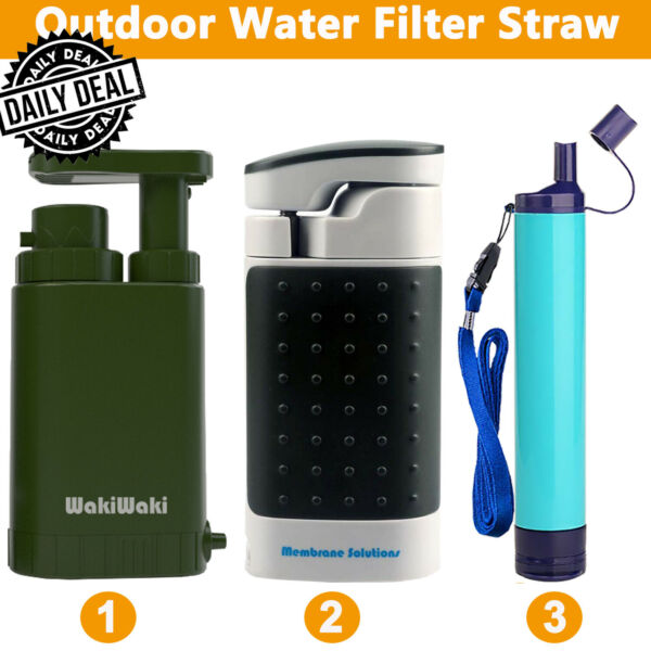 Personal Water Filter Pump Purifier for Camping Hiking Backpacking Survival Tool $39.99