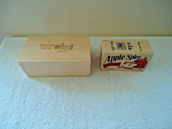 Lot Of 2 Wooden Boxes With Sliding Tops1Harrison County Ky1Apple Spice Tea