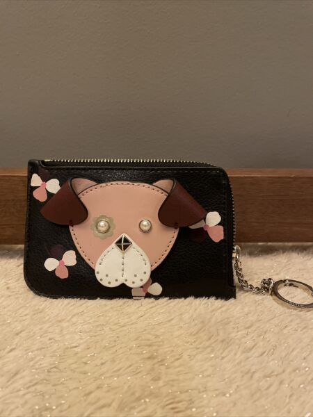 NWT kate spade Floral Pup Dog Leather Card Holder L Zip Wallet Key Fob $54.99