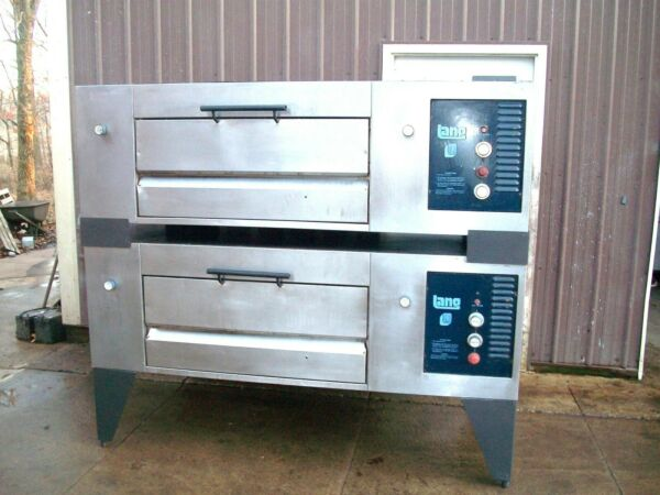 2 LANG NATURAL GAS AIR DECK DOUBLE PIZZA OVENS NEW STONES $3895.00