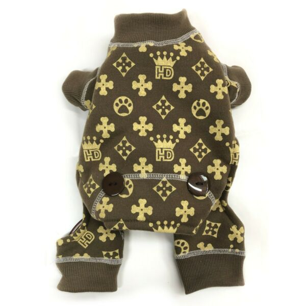 """Royal Crown Jumper Pajama for Dog size S Back 11"""" Brown Pajama Party NWT $10.50"""