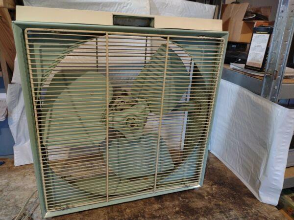 Vintage Kenmore Sears All Metal Automatic Box Fan With Thermostat Green amp; White $125.00