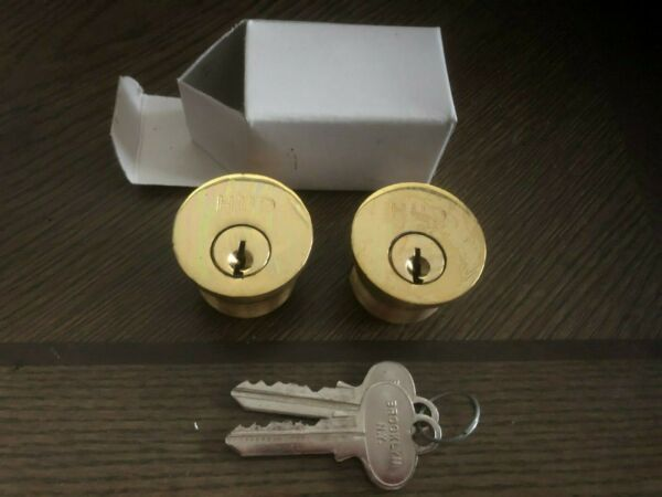 One pair keyed alike 1quot; Solid Brass Mortise lock cylinder with keys.