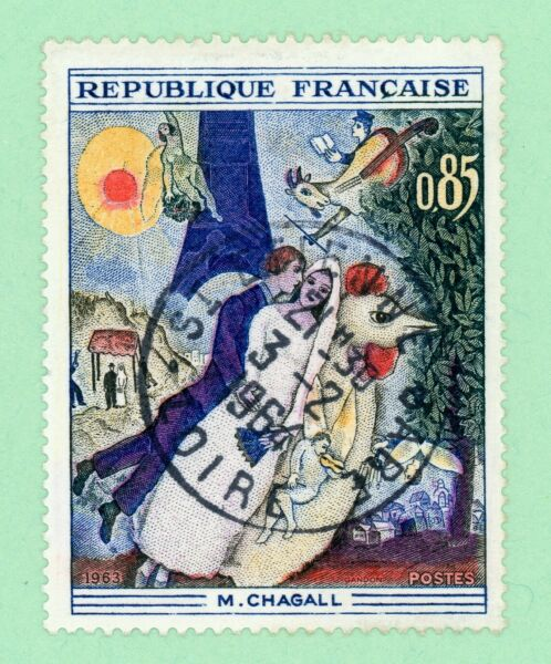 France 1 stamp SC 1076 Married Couple Eiffel Tower 1963 used