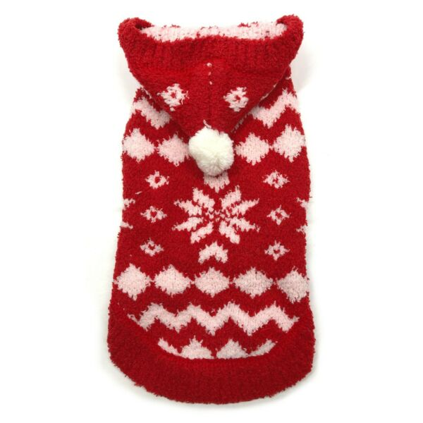 Red Snowflake Hoodie Sweater for Dog XS Back 8quot; by Hip Doggie X#x27;mas NWT $11.50