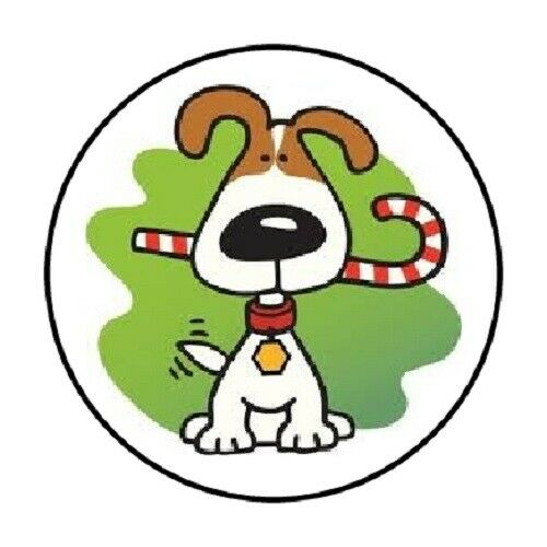 48 CUTE CHRISTMAS DOG CANDY CANE STICKER LABEL ENVELOPE SEALS 1.2quot; ROUND $2.40