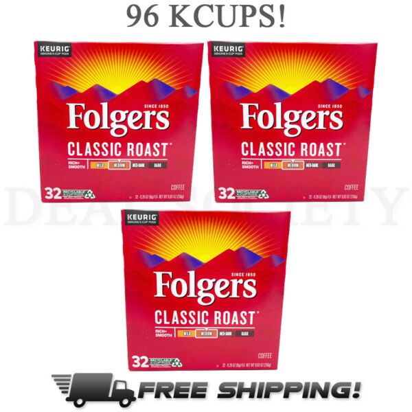 Folgers Classic Medium Roast K Cup Pods for Keurig Coffee Makers 96 Count
