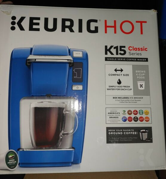 Keurig Hot K15 Classic Series Single Cup Blue Coffee Maker Many Great Items