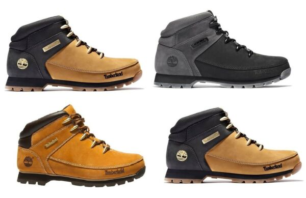 Timberland Men#x27;s Euro Sprint Leather Hiker Boots Wheat Black Gray A1NHJ