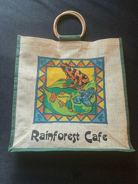 Vintage RAINFOREST CAFE Coated Burlap Tote Bag with Bamboo Handles