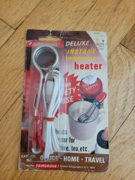 Vintage Fairgrove Deluxe Instant Immersion Heater Travel Heats Water NEW $8.99