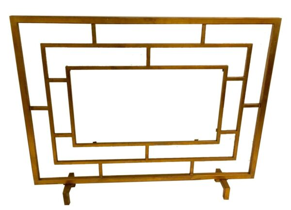FIREPLACE SCREENS quot;WILTSHIREquot; GLASS PANEL FIRE SCREEN ANTIQUE GOLD