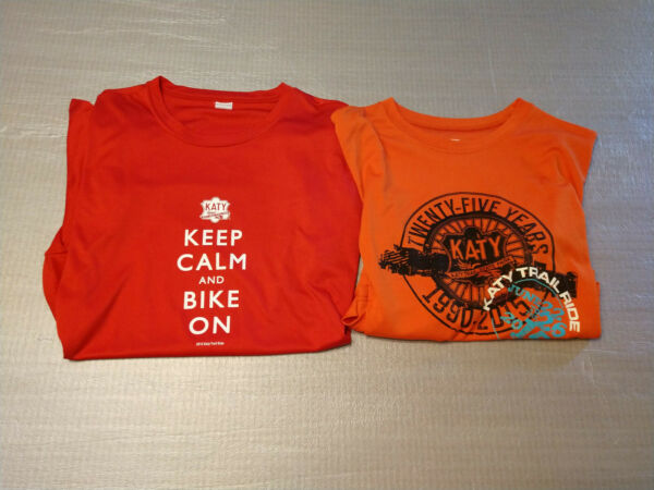 Pair of Katy Trail Cycling Shirt XL State Park Bike Bicycle MKT Keep Calm 2015 $29.99