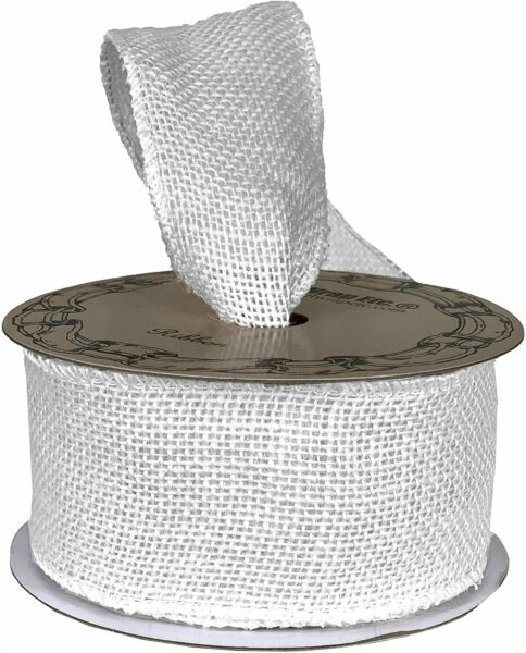 Off White Fabric Burlap Woven Ribbon 2 1 2quot; x 10 Yards Wired Edge Wedding