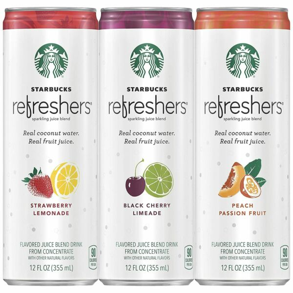 Starbucks Refreshers with Coconut Water 3 Flavor Variety Pack 12 fl Oz. Cans