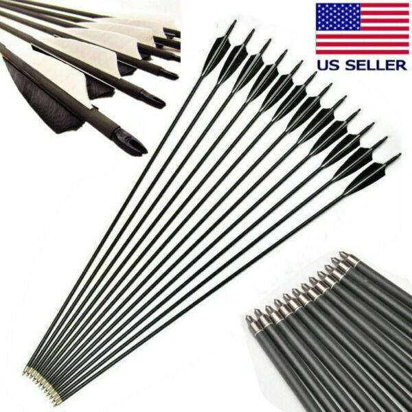 32quot; Carbon Arrows Turkey Feather Spine 550 OD 8mm For For Compoundamp;Recurve Bow $22.84