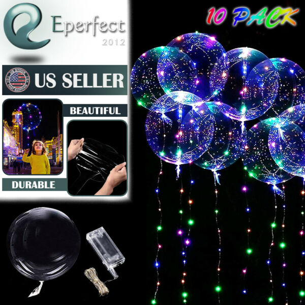 10 Pack LED Light Up BoBo Balloons 20quot; Party Birthday Transparent Bubble Balloon