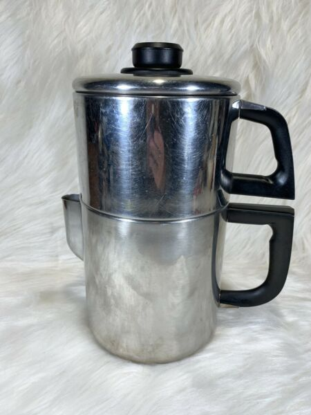 Vintage FLINT Stainless Steel Stove Top Drip Coffee Pot Maker 8 Cup Prepping 👀