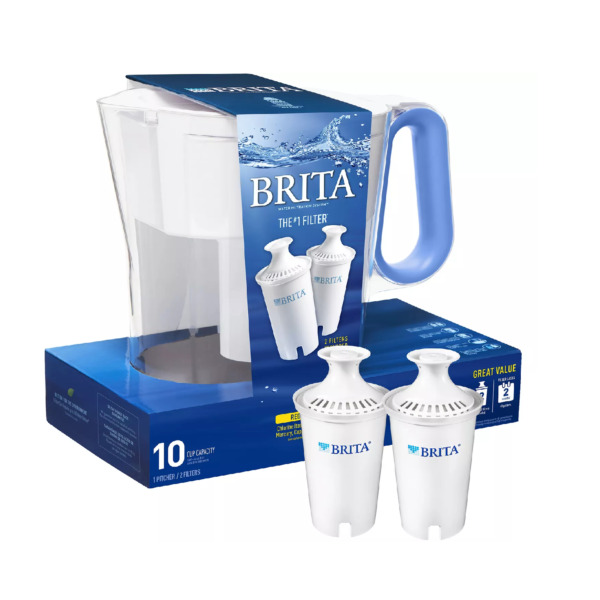 Brita Large 10 Cup Water Filter Pitcher with 2 Standard Brita Filters