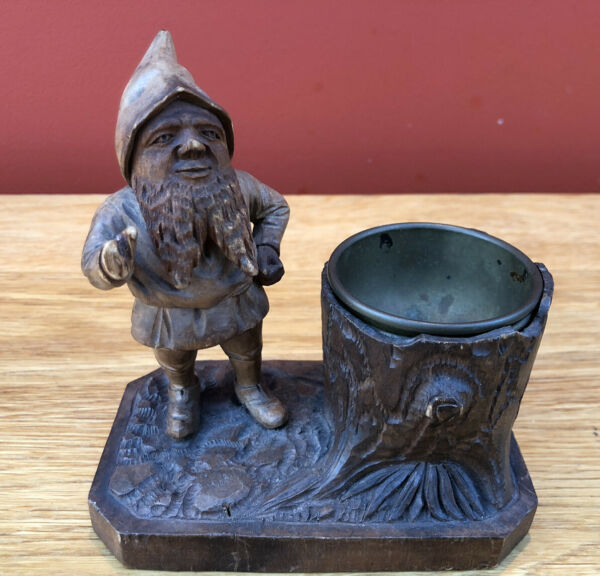 Antique Black Forest Carved Wood Gnome Smokers Stand Ash Tray
