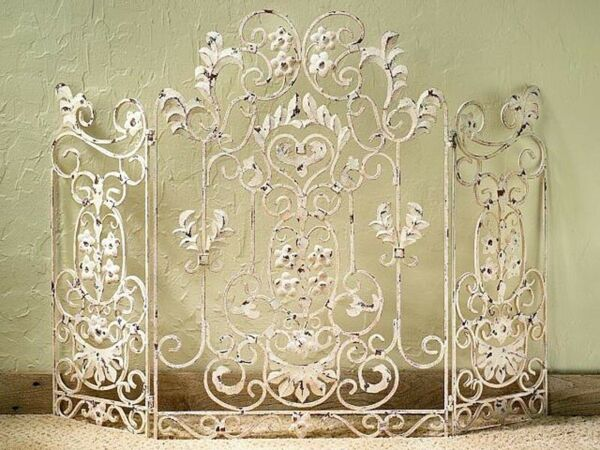 FIREPLACE SCREENS CHENONCEAU ANTIQUE FLORAL FIRE SCREEN ANTIQUE IVORY FINISH