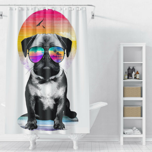 Cool dog with sunglasses Shower Curtains for Bathroom Decor With 12 Bath Hooks $16.89