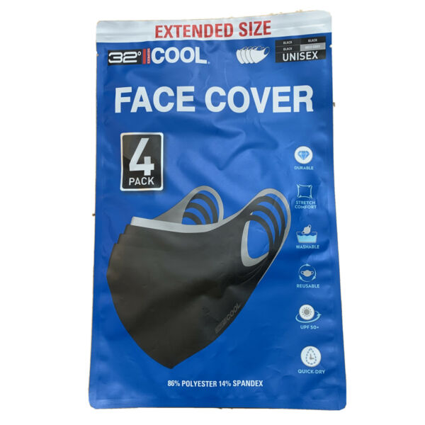 Cool Adult Unisex Face Cover Mask 32 Degrees Extended Size Stretch 4 PACK $39.99