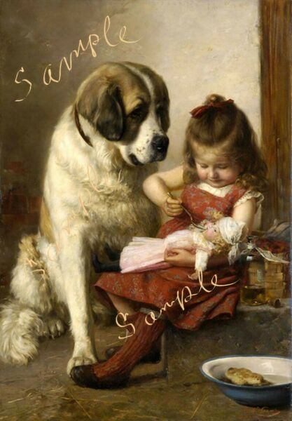 Girl with Saint Bernard and doll print picture $8.00