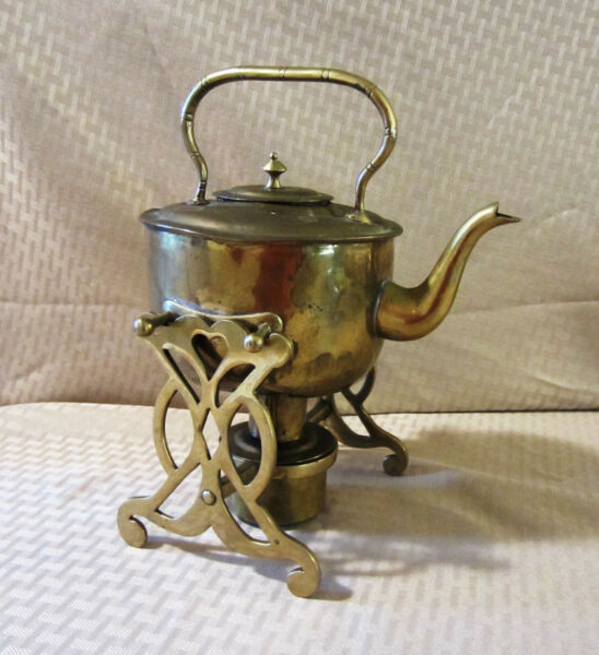Antique Brass Teapot With Stand and Alcohol Burner