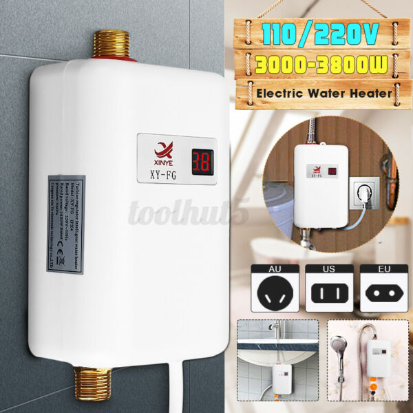 3000W Tankless Hot Water Heater Shower Electric Portable Instant Boiler Bathroom $54.90