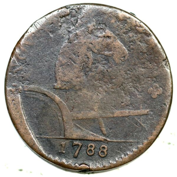 1788 75 bb R 4 Running Fox New Jersey Colonial Copper Coin