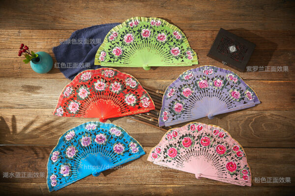 Wedding Party Hand Held Painted Flower Spanish Style Wood Fan Vintage Dance Fans $17.09