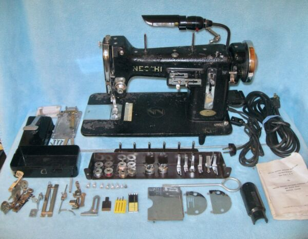 Vintage 1951 NECCHI BU Sewing Machine w Accessories; ITALY; PARTS AND OR REPAIR
