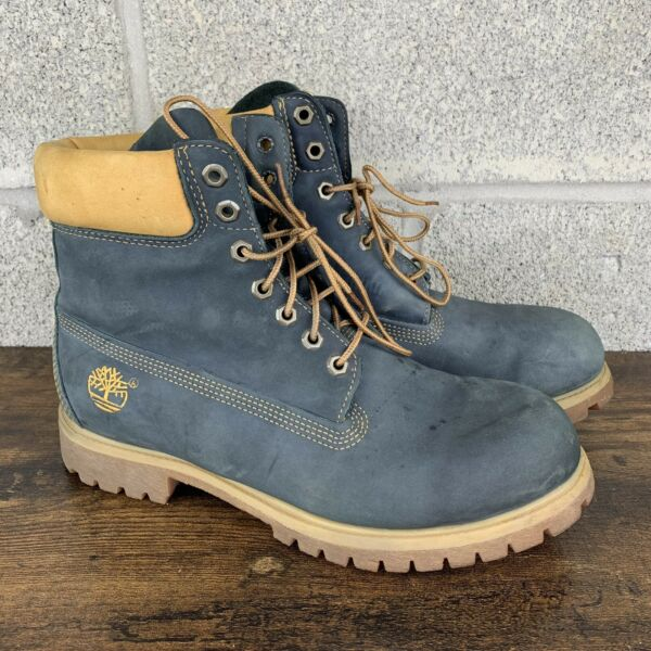 Timberland Men's Navy Blue Leather Boots Size 10M