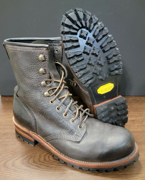 Frye 73020 Brown Leather Logger Work Boots Men's Size 10 Made in USA
