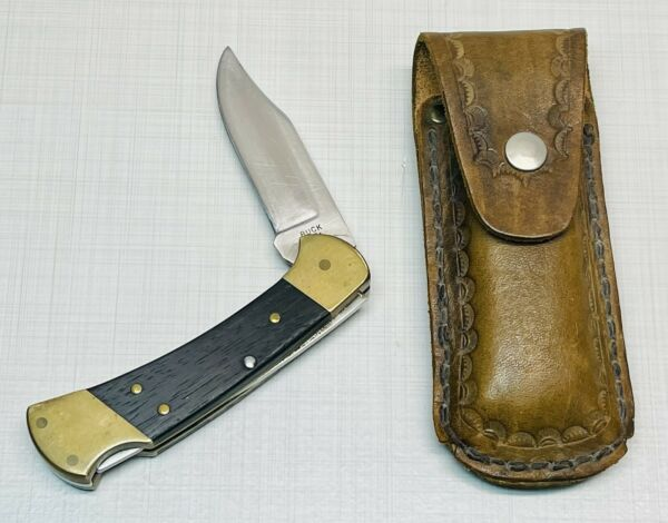 Vintage Buck 112 Ranger Folding Knife With Sheath Hunting Nice Clean Good Cond