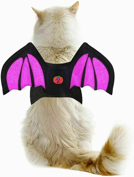 Dog Halloween Bat Costumes Sparkly Dog Cat Bat Wings with Led Pumpkin $7.99