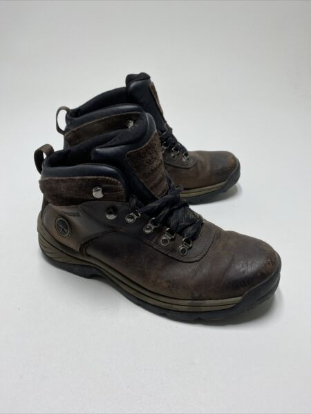TIMBERLAND MENS FLUME WATERPROOF BROWN LEATHER ANKLE BOOTS #18128 SIZE 10.5
