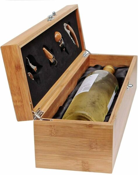 Wooden Wine Box with Tools Gift for Wine 5 pc bar tool wine carrier Corkscrew