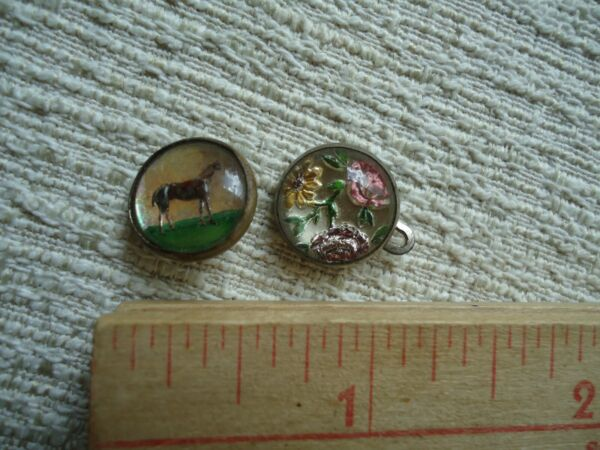 Antique Buttons Horse amp; flowers Glass old