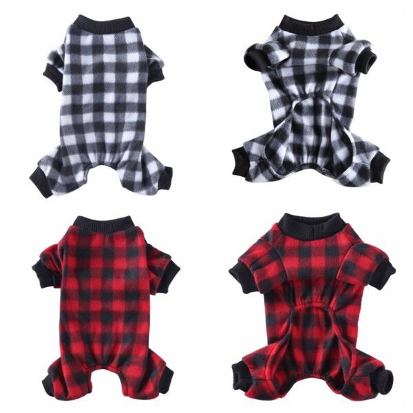 Teddy Dog High Street Style Clothes Trendy Red Black Plaid Shirt Pet Clothing US $9.29