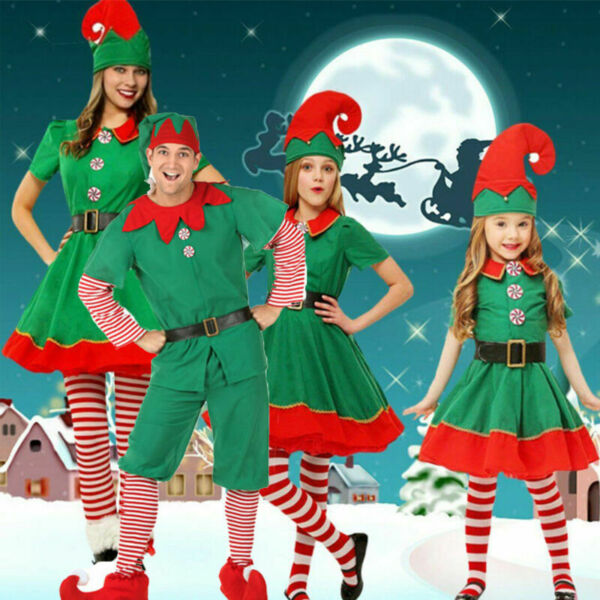 Family Matching Adult Kids Christmas Elf Costumes Xmas Party Fancy Dress Outfits