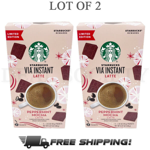 Starbucks VIA Instant Peppermint Mocha Latte Limited Edition 10 Packets Total