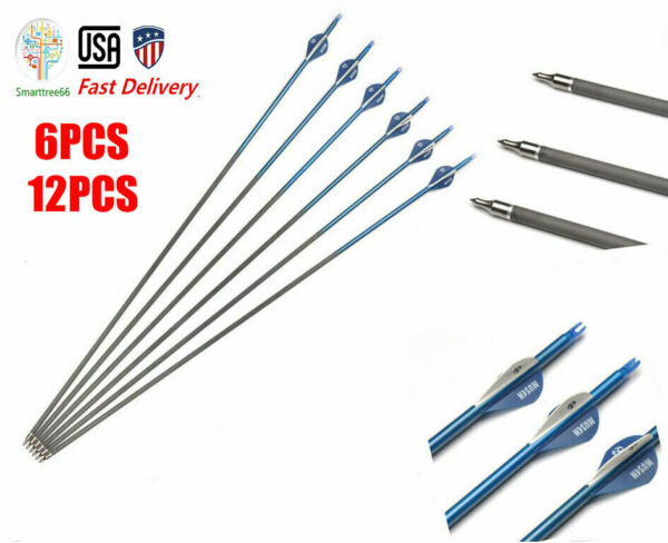 6 12Pcs 30 Inche Mixed Carbon Arrow Spine 340 OD 7.6mm w Replaceable For Hunting $26.49
