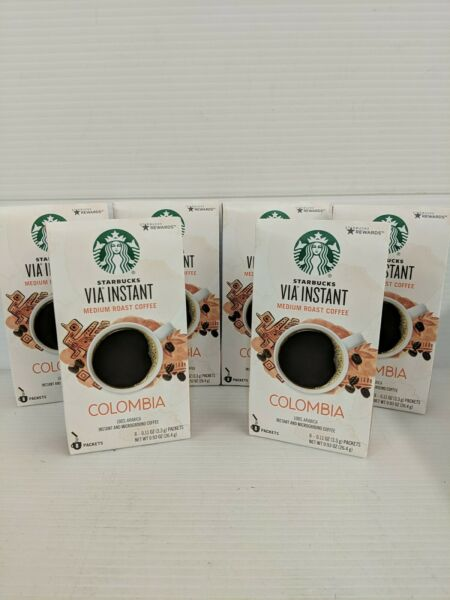 Lot of 6 8 ct Starbucks VIA Instant Colombia Coffee Med Roast BB 12 20 20