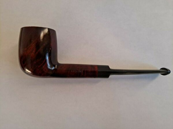 Vintage 70s Red Wood Pipe Casini ITALY Wooden Bowl Black Handle Smoking Tobacco $15.00