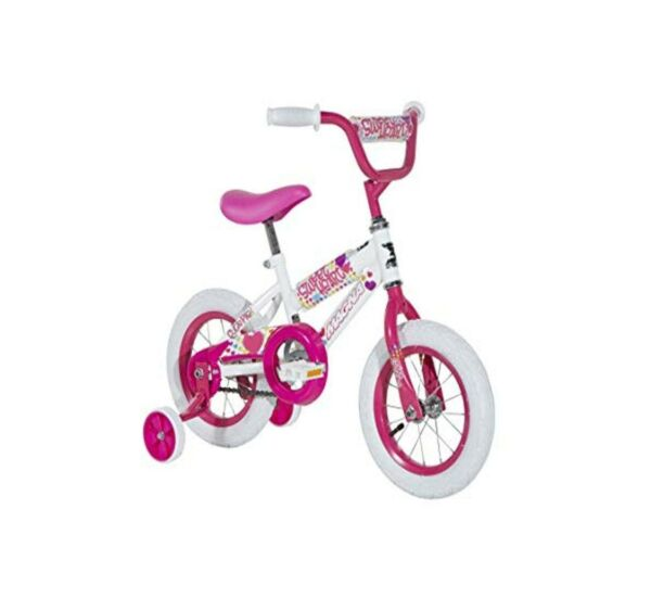 Magna Kids Bike Girls 12 Inch Wheels with Training Wheels in White Pink and ... $94.42