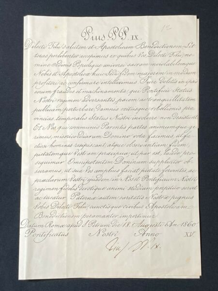RARE Vatican Letter Signed by Pope PIUS IX w Red Papal Seal Dated Aug of 1860