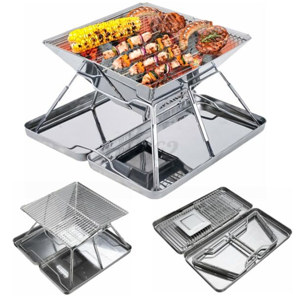 Portable Folding Stainless Steel Charcoal BBQ Grill Outdoor Camping Picni