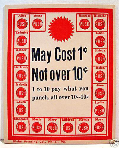 1950 May Cost 1 Cent To 10 Cent Punch Board Old Stock $10.00